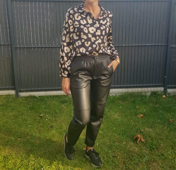 Pantalon simili cuir coupe droite, élastique à la taille